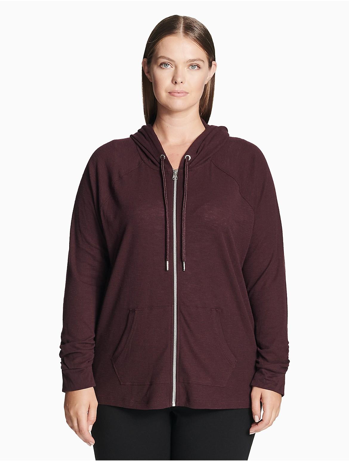 6f17b9deb3df5 plus size performance drawstring zip raglan hoodie