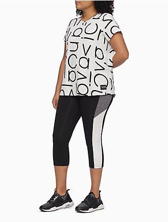 edd0f2b76b734 plus size performance striped cropped leggings