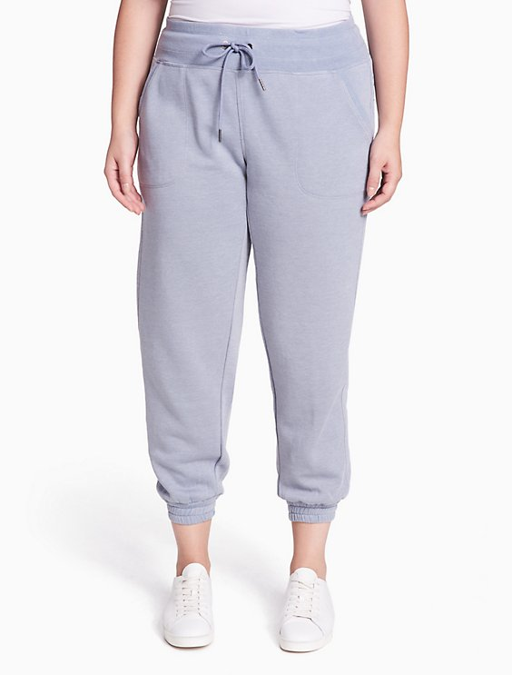 8129fe551b2603 plus size performance distressed fleece ankle joggers | Calvin Klein