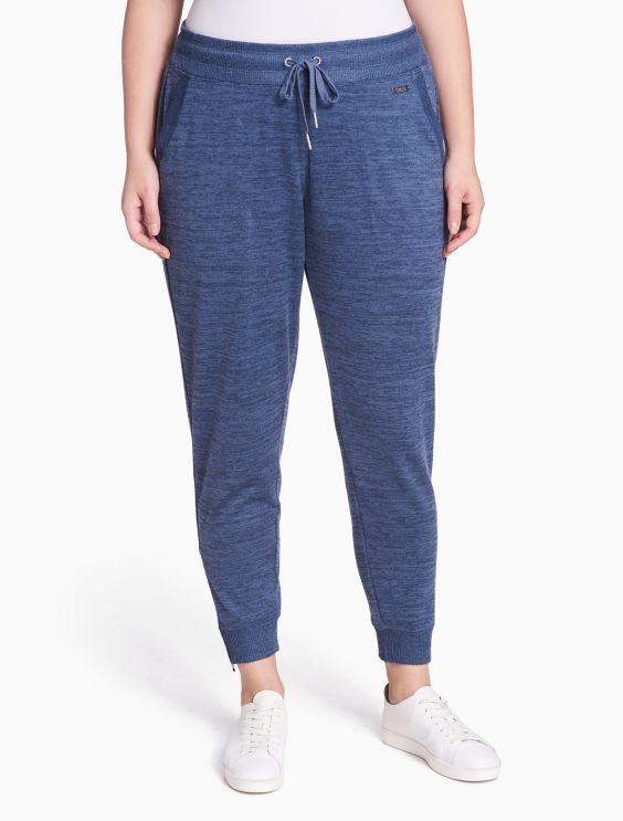 Plus Size Performance Heathered Fleece Zip Joggers by Calvin Klein