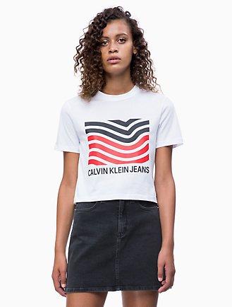 f810db35386db7 Graphic Wave Logo Cropped T-shirt