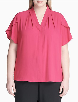 a6c0514a8924c plus size v-neck tulip sleeve top