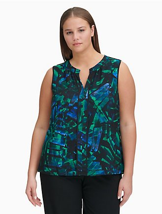 975d8274b04080 plus size printed v-neck piped top