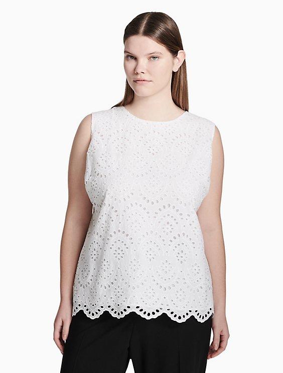 Plus Size Cotton Eyelet Sleeveless Top Calvin Klein