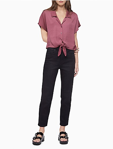 Image of Tie-Front Button-Down Shirt