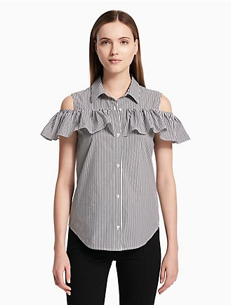d81cb6ffd85ac striped cold shoulder ruffle sleeve blouse