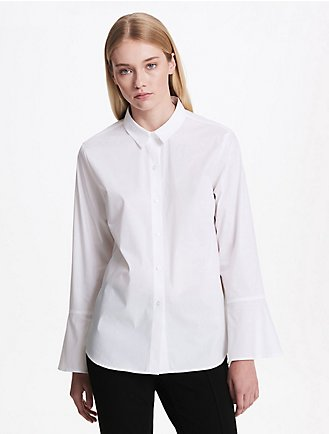 97423b97b593dc flare sleeve button down shirt