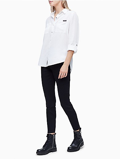 Image of Solid Button-Down Roll Sleeve Shirt