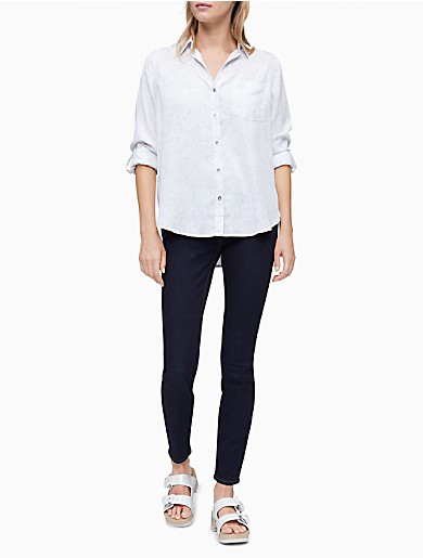 Image of Printed Button-Down Roll Sleeve Shirt