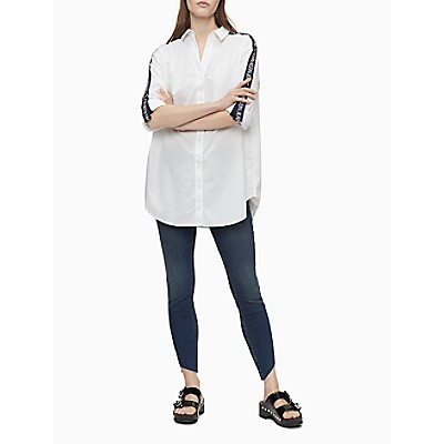 Oversized Logo Tape Button-Down Shirt