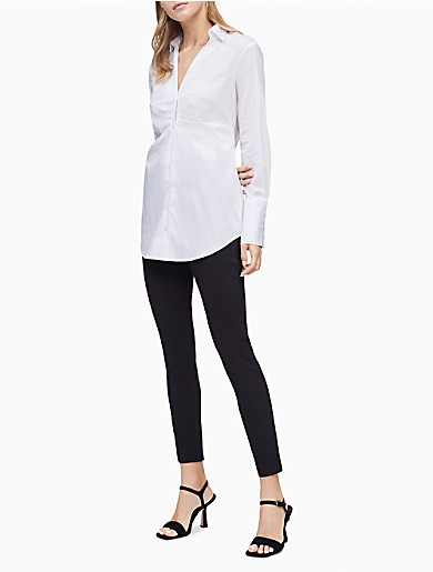 Image of Ruched Poplin Button-Down Shirt