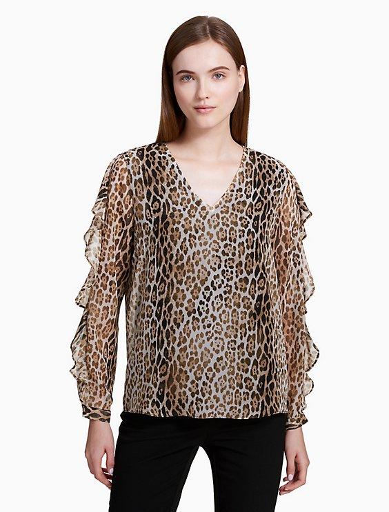 647f1f173999 animal print v-neck ruffle sleeve blouse   Calvin Klein