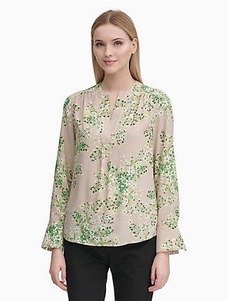 printed deep v-neck flare cuff shirt 6c5fea143440