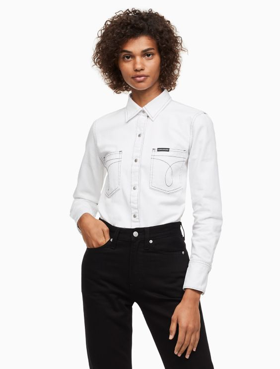 White Denim Omega Utility Shirt by Calvin Klein