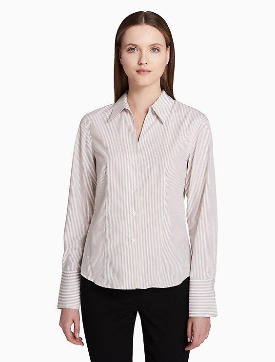 b92e36ead Price as marked striped non-iron cotton button front long sleeve top