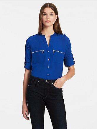5662cabab0 mandarin collar roll-up sleeve blouse
