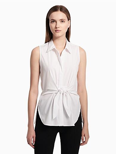 806189b0bfa64d tie front sleeveless blouse