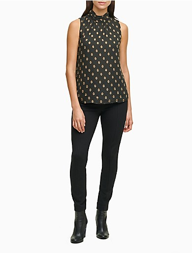 Image of Printed High Neck Sleeveless Top