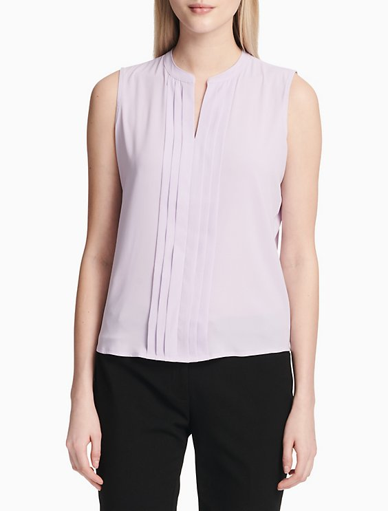 Solid V Neck Sleeveless Blouse by Calvin Klein
