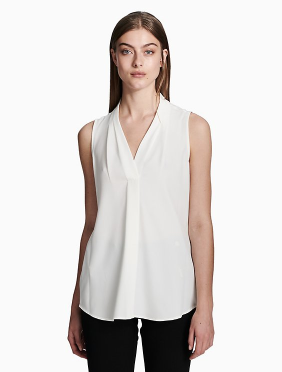 ff28b3684b5359 Price as marked v-neck inverted pleat blouse