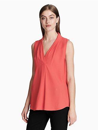 20ac8fb52c325 v-neck inverted pleat blouse