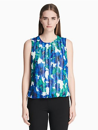 3594cf51ad92a2 printed bubble front sleeveless top