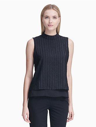 777a57e64a426a striped mock neck sleeveless top