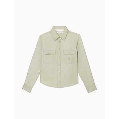 Solid Twill Button-Down Utility Shirt