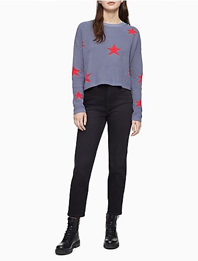 Image of Star Intarsia Crewneck Cropped Sweater