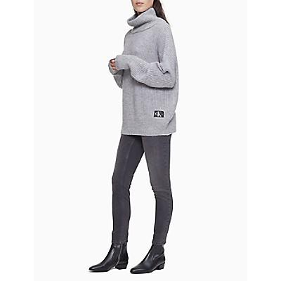 Cowl Neck Monogram Logo Dolman Sleeve Sweater