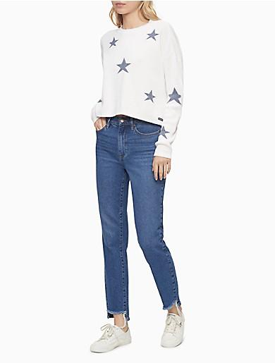 Image of Stars Print Crewneck Cropped Sweater