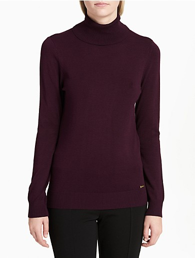Image of Solid Ribbed Turtleneck Sweater