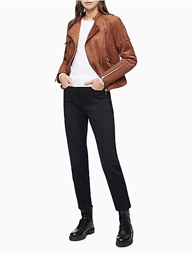 Image of Faux Suede Asymmetric Zip Biker Jacket