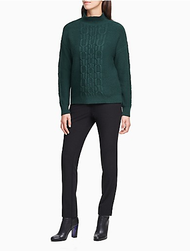Image of Chain-Link Stitching Mock Neck Sweater