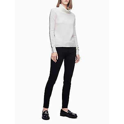 Cowl Neck Side Stripe Pullover Sweater