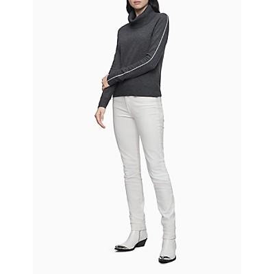 Cowl Neck Side Stripe Pullover Sweater