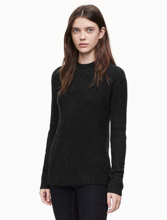 Plaited Crewneck Pullover Sweater by Calvin Klein