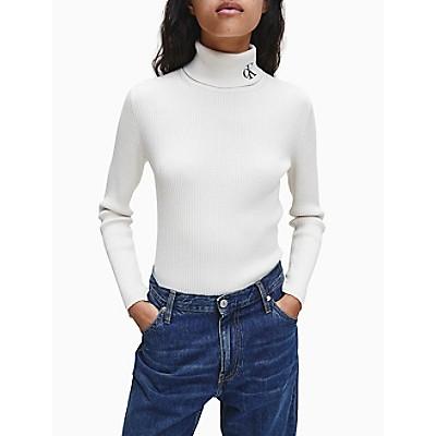 Slim Fit Monogram Logo Ribbed Turtleneck Sweater