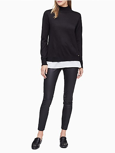 Image of Mock Neck Double Layer Sweater