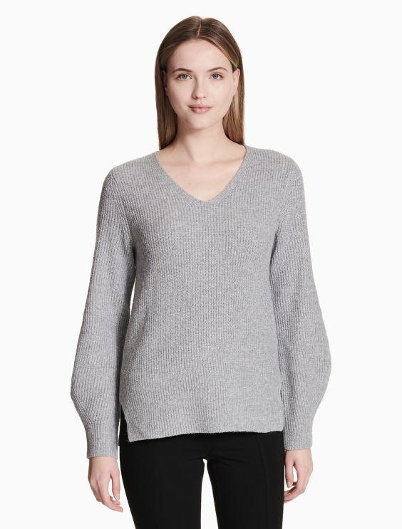 V Neck Balloon Sleeve Sweater by Calvin Klein