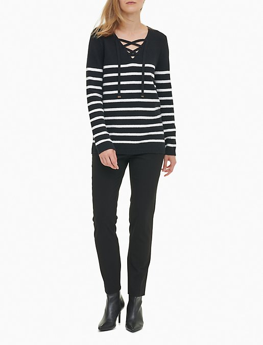 Striped V Neck Lace Up Sweater Calvin Klein