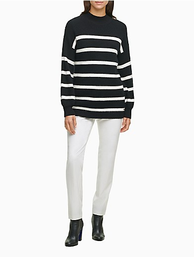 Image of Striped Mock Neck Sweater