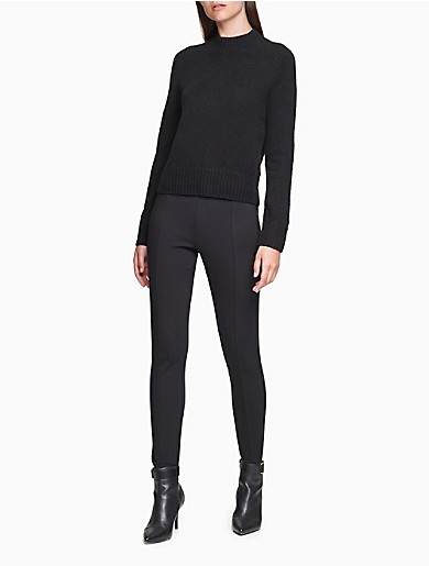 Image of Solid Mock Neck Ribbed Cropped Sweater