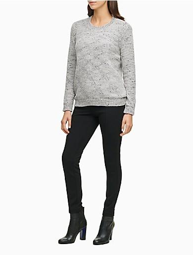 Image of Flecked Chenille Crewneck Sweater