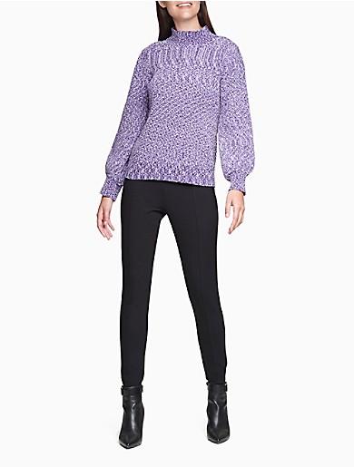 Image of Marled Mock Neck Sweater