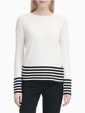 0014647d042aa Striped Textured Crewneck Drop Shoulder Top