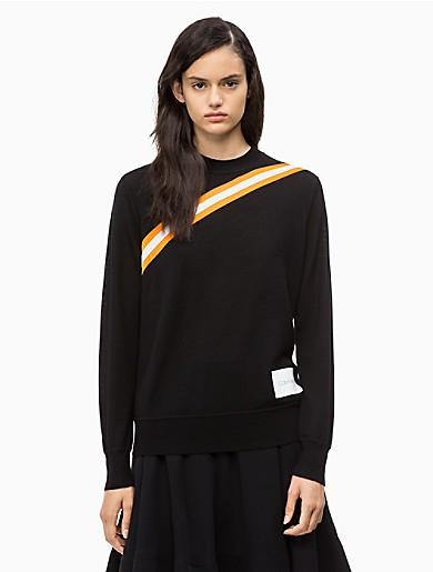 Image of Wool Diagonal Stripe Sweater