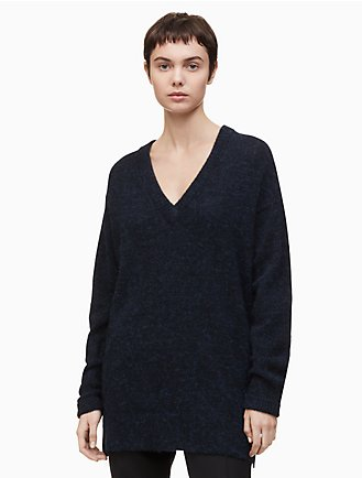05e1d152f9a74 v-neck drop shoulder long sweater