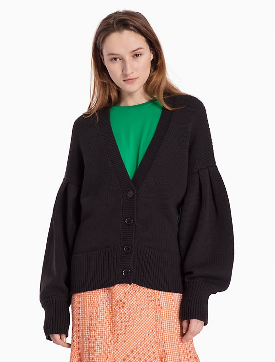6048b012d9d89 cotton knit v-neck poet sleeve cardigan   Calvin Klein