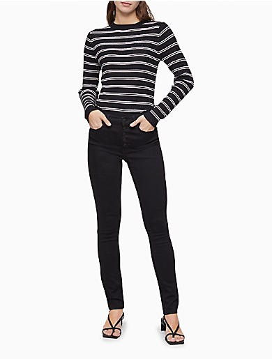 Image of Striped Ribbed Knit Sweater